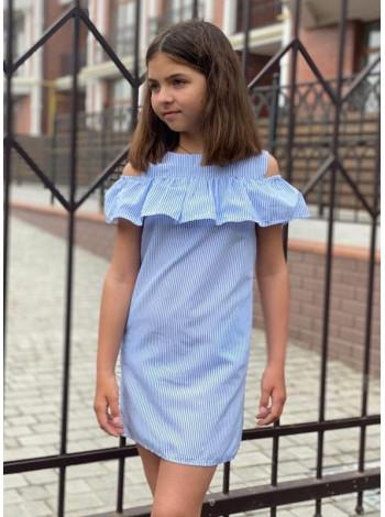 Літнє дитяче плаття з відкритими плечима в полоску