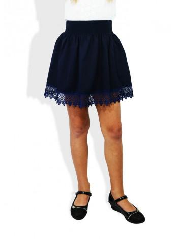 Модная школьная юбка с кружевом по низу для девочки