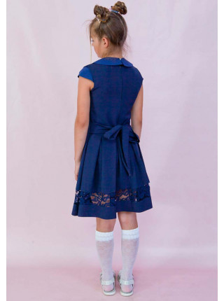 Нарядный школьный сарафан с кружевом для девочки