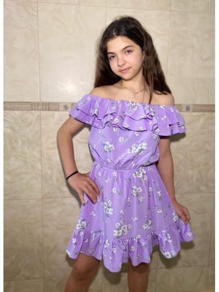 Детское платье с открытыми плечами в цветочек