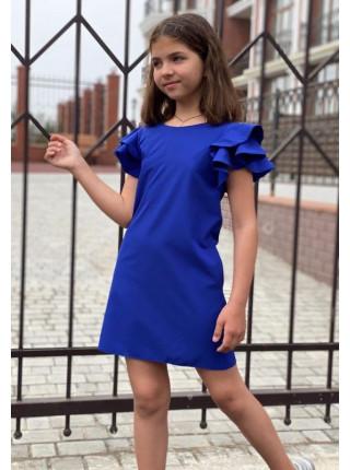 Летнее платье для девочки с воланами на рукавах