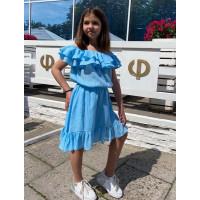 Детское платье с воланами на плечах