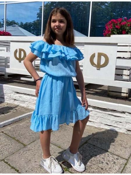 Дитяча сукня з воланами на плечах