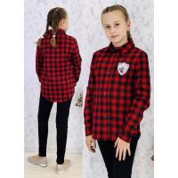 Красная рубашка в клетку на девочку