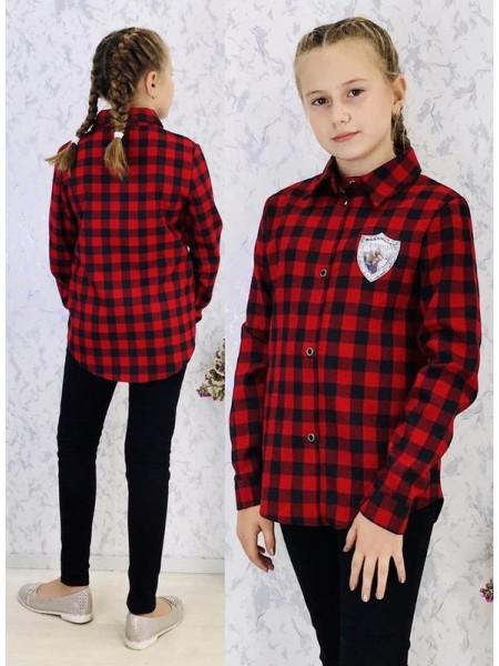 Червона рубашка в клітинку на дівчинку