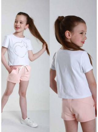 Літній костюм з короткими шортами для дівчинки