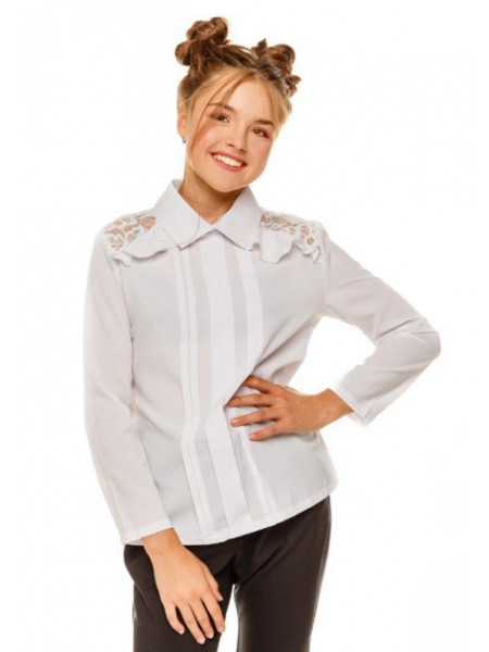 Шкільна блузка на дівчинку з довгим рукавом