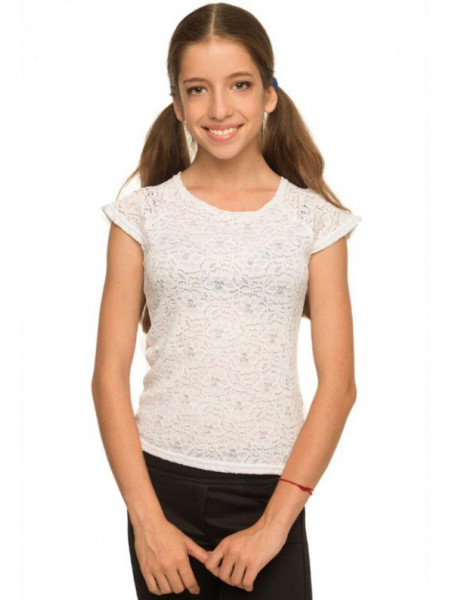 Біла блузка дитяча з коротким рукавом