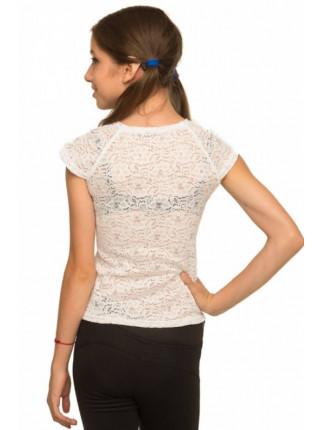 Белая блузка детская с коротким рукавом