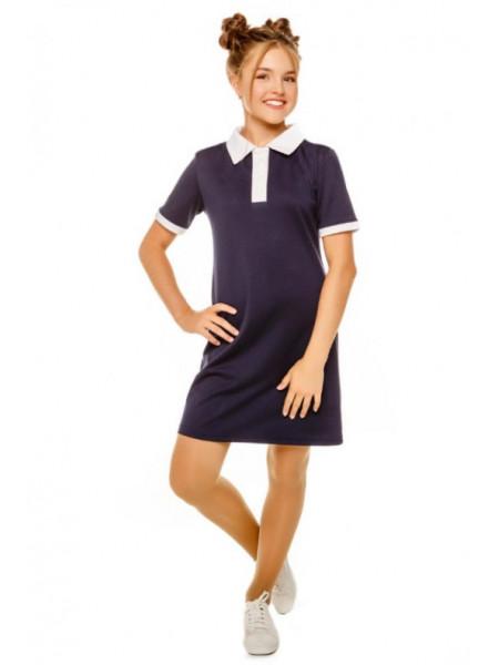 Школьное платье с белым воротником поло