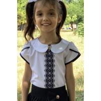 Нарядная блузка на девочку с коротким рукавом
