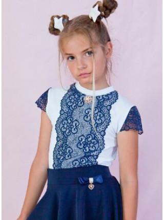Блузка шкільна нарядна з мереживом