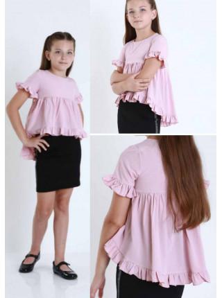 Блузка с коротким рукавом на девочку свободного кроя