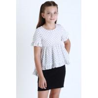 Дитяча блузка з коротким рукавом в горошок