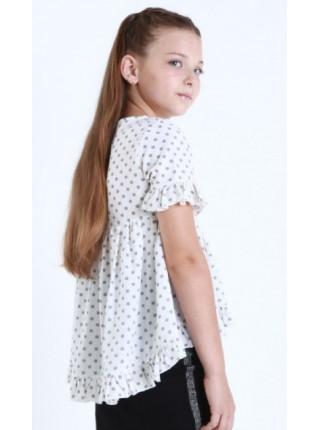 Детская блузка с коротким рукавом в горошек