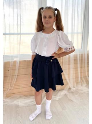 Красивая школьная блузка с коротким рукавом
