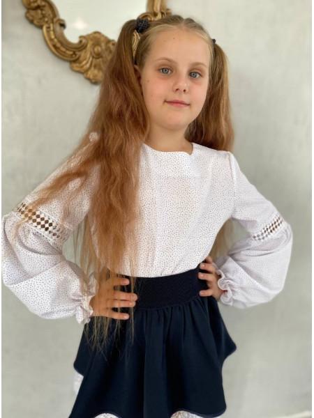 Блузка школьная в мелкий горошек