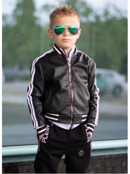 Кожаная куртка бомбер для мальчика