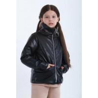 Кожаная куртка на синтепоне для девочки