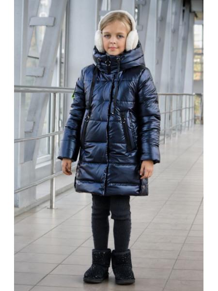 Зимняя куртка пальто на девочку с эффектом мокрой кожи