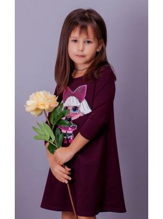 Красивое детское трикотажное платье с куклой Lol