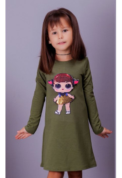 Красива дитяча трикотажна сукня із лялькою Lol